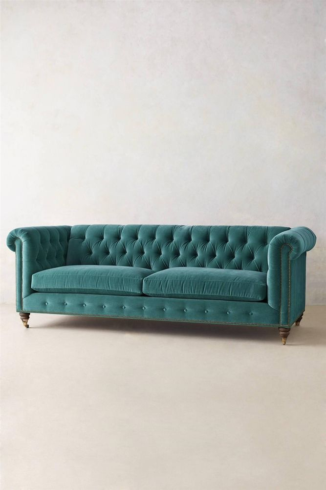 Turquoise Green Velvet Tufted Chesterfield Sofa With Down Cushions. Now, If  Only I Could Find Something Like This On Craigslist For 1/5 The Price. Le  Sigh.