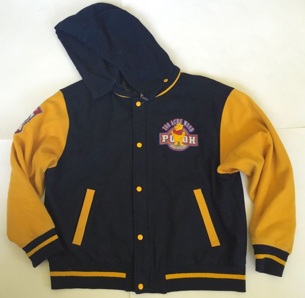Winnie the pooh letterman varsity jacket l vintage disney store navy