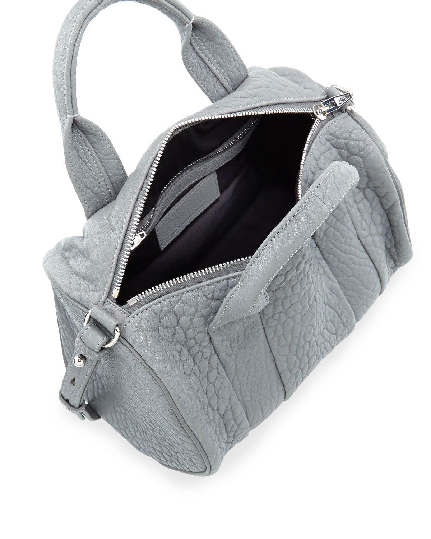 Rocco Dumbo Stud-Bottom Satchel Bag, Gray