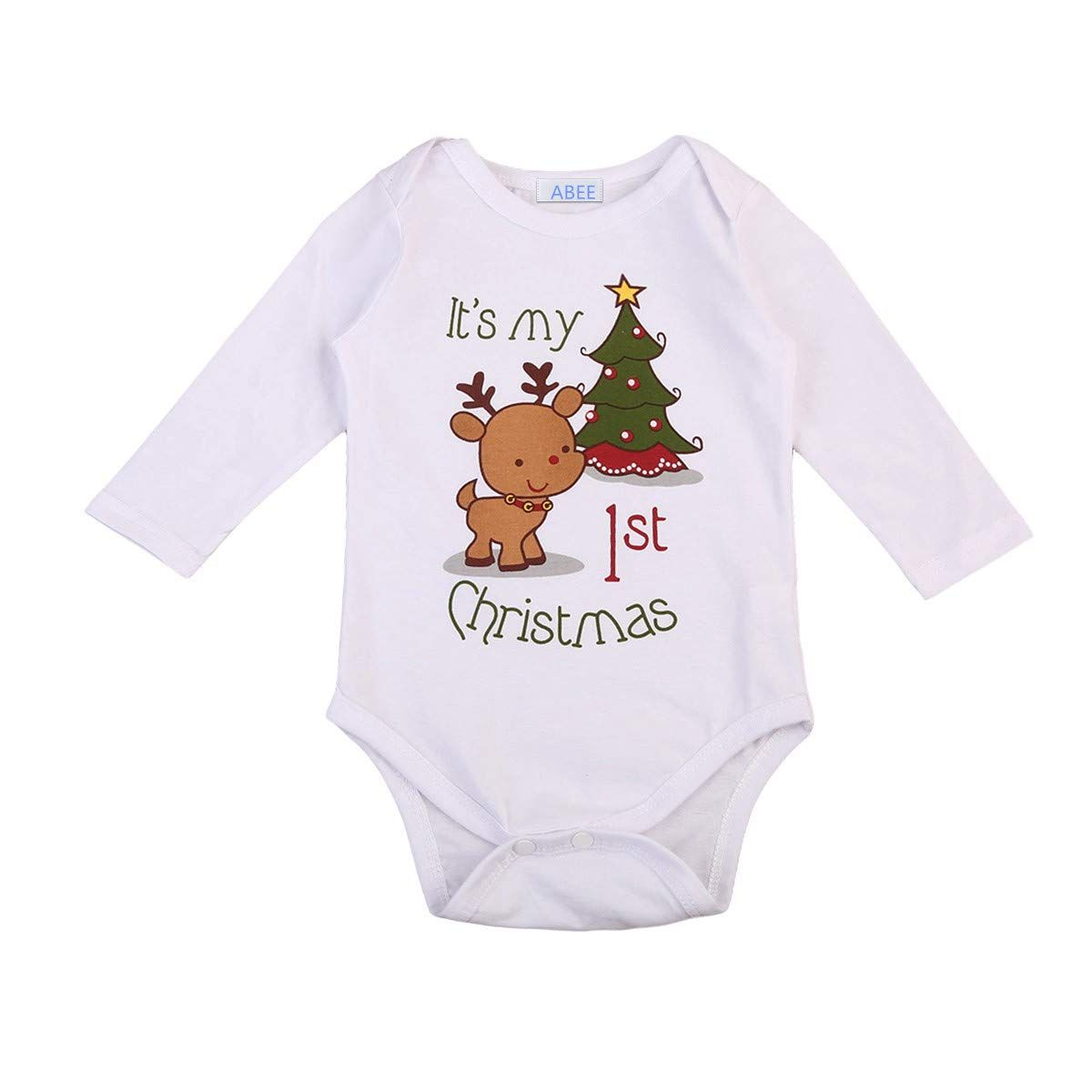 c0a0cbdf804a ABEE It is My 1st Christmas Newborn Baby Girls Boy Long Sleeve Deer  Bodysuit Romper Outfit Clothes ** For additional information, visit photo  web link.