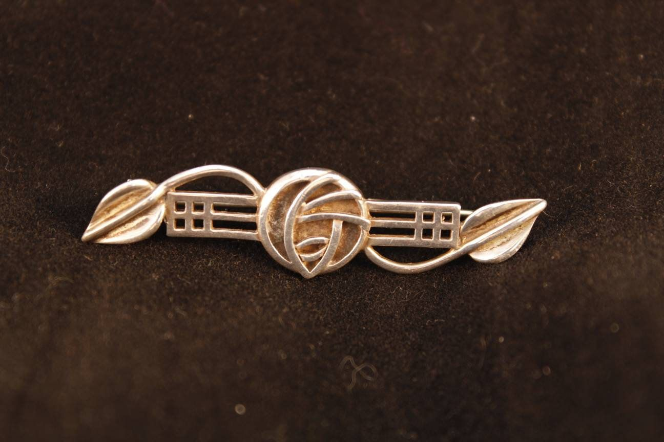 Rennie Mackintosh Inspired Brooch Pin Sterling Silver Glasgow Rose Signed CJL Carrick Jewellery Jewelry Gift