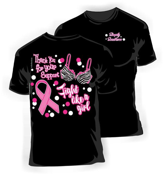 Girlie Pink Ribbon Breast Cancer Awareness T-Shirt in Black on Etsy, $19.99