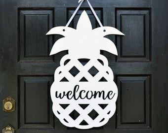 Pineapple Front Door Wreath Decor By HouseSensationsArt