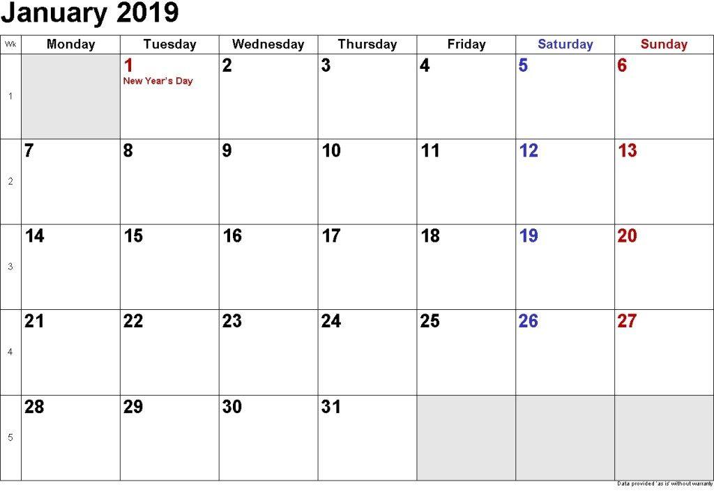 January 2019 Calendar Canada Printable Calendar 2019 Printable