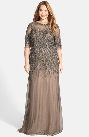 f6d2e8d3c0 Adrianna Papell Illusion Yoke Long Beaded Gown (Plus Size) on shopstyle.com