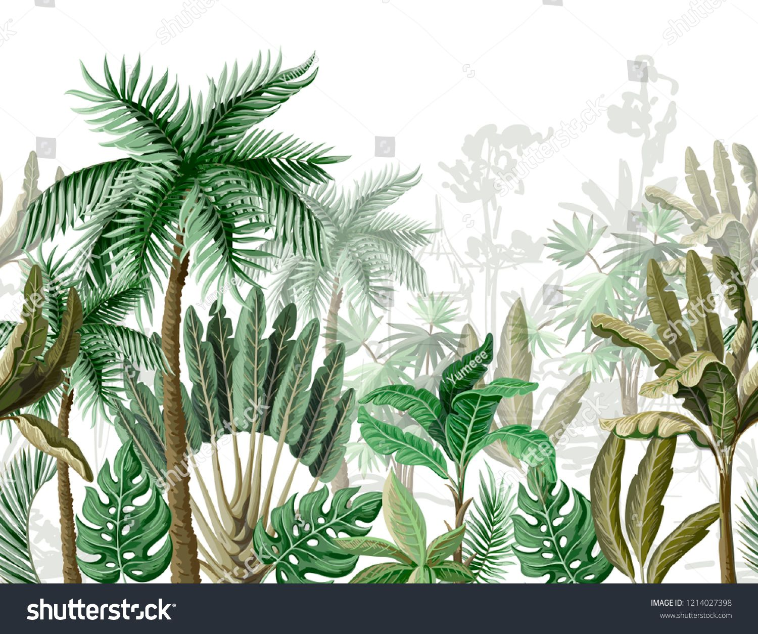 Seamless border with tropical tree such as palm, banana. ,