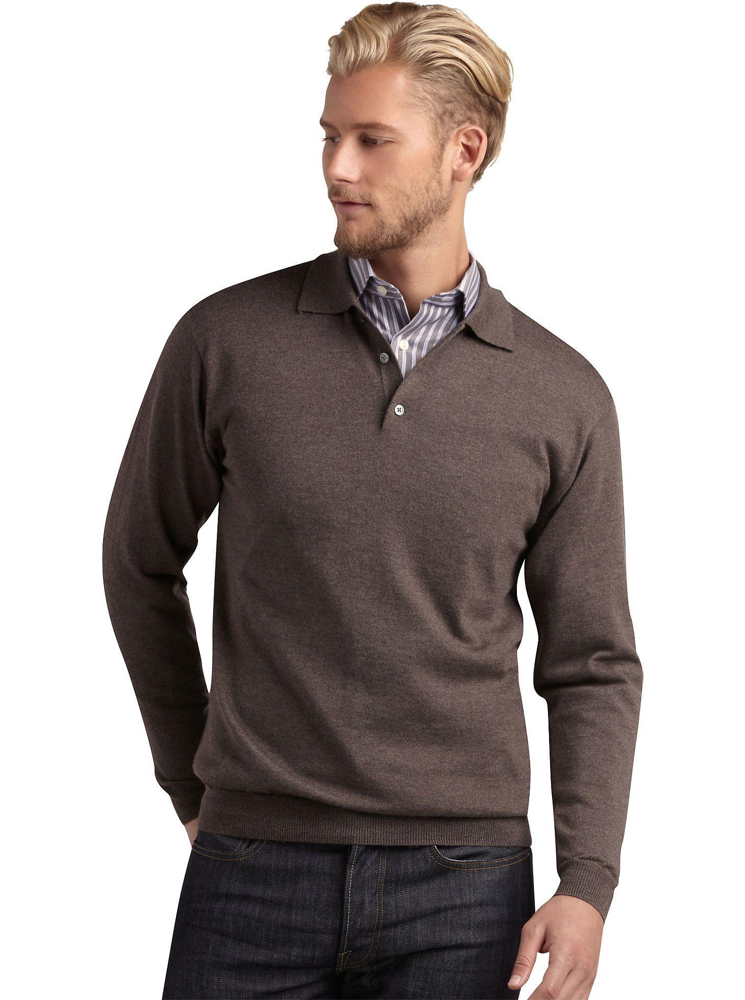 4c045635e0 Sweaters   Vests - Pronto Uomo Brown Merino Polo Sweater - Men s Wearhouse