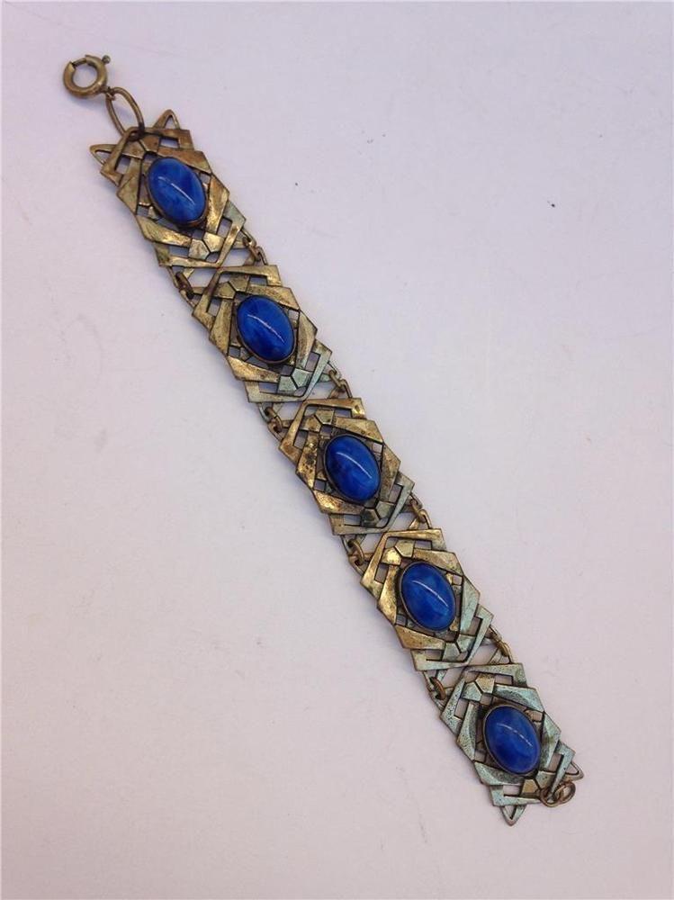 Vintage Goldtone Design with Blue Stones 5-Link Bracelet  | eBay