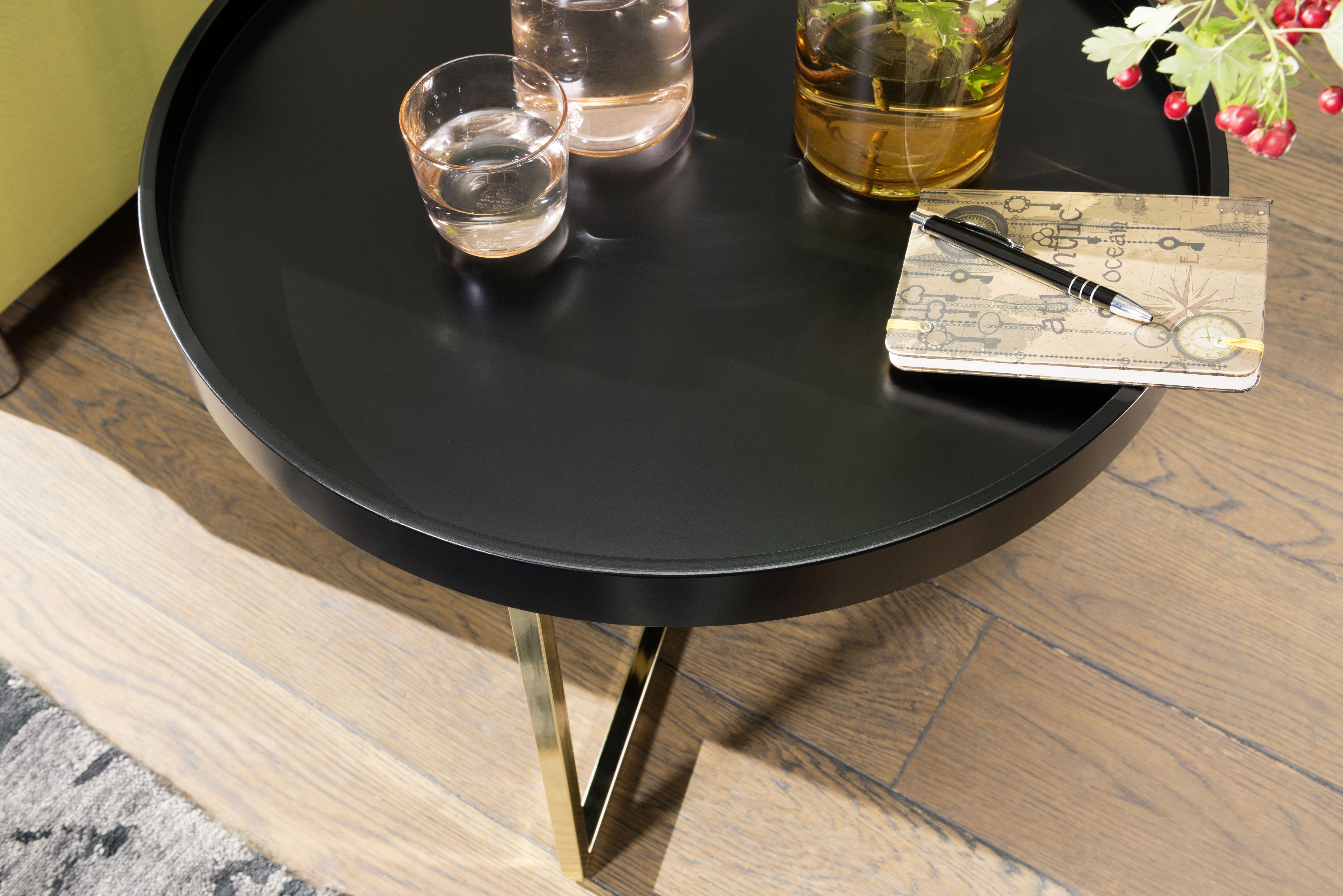 Wohnling Beistelltisch Eva Wl5 763 Schwarz Aus Mdf Mit Gold Gestell Wohnzimmer Gold Tablett Modern Design Dekoration R Tisch Beistelltische Couchtische