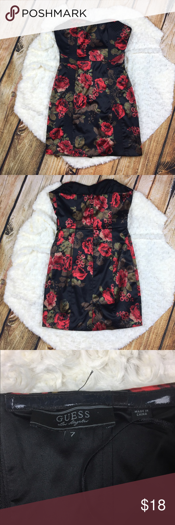 389cd493204 Guess Rose Dress Black and red rose dress by guess. Zip up thee back. Has  some stretch to the top. Two hanger straps inside. Some damage to the  inside (see ...