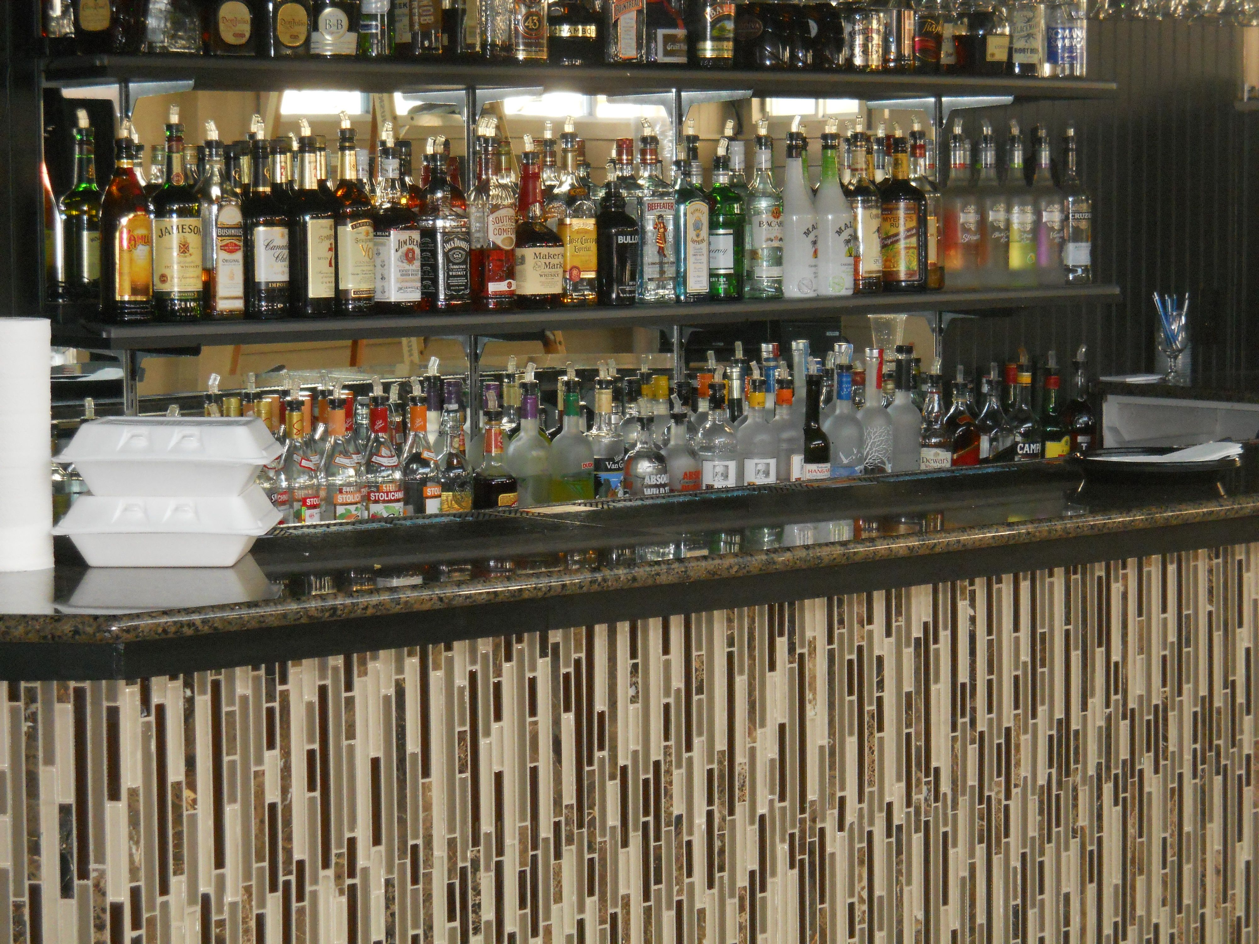 awesome glass mosaic bar front | tile installssignature tile
