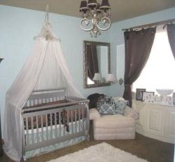 A chocolate brown and baby blue boy nursery with crib canopy. Mom bought all furniture & A chocolate brown and baby blue boy nursery with crib canopy. Mom ...