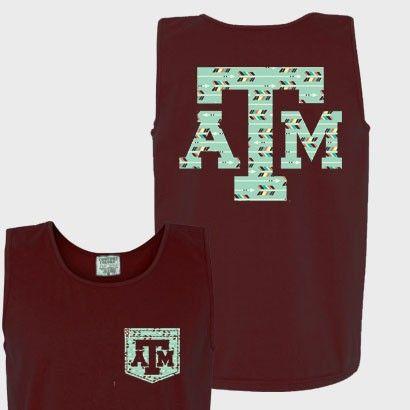 Texas A&M Aggies Faux Pocket Maroon Comfort Colors Ladies Tank Top