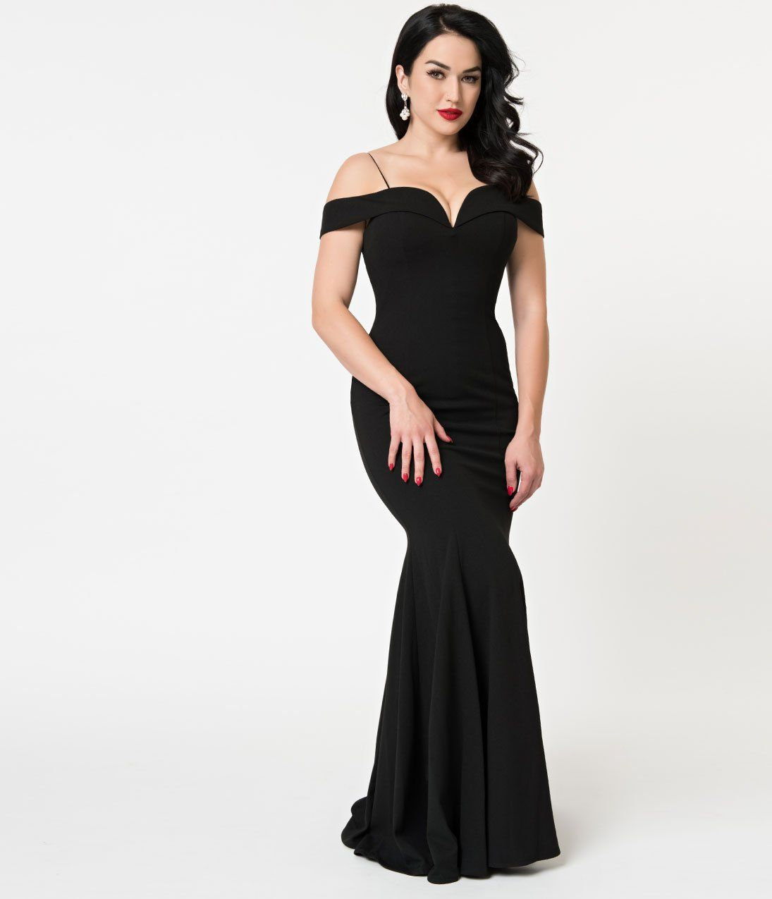 3c7a9e3d61701 Black Bateau Neckline Mermaid Style Full Length Gown – Unique Vintage