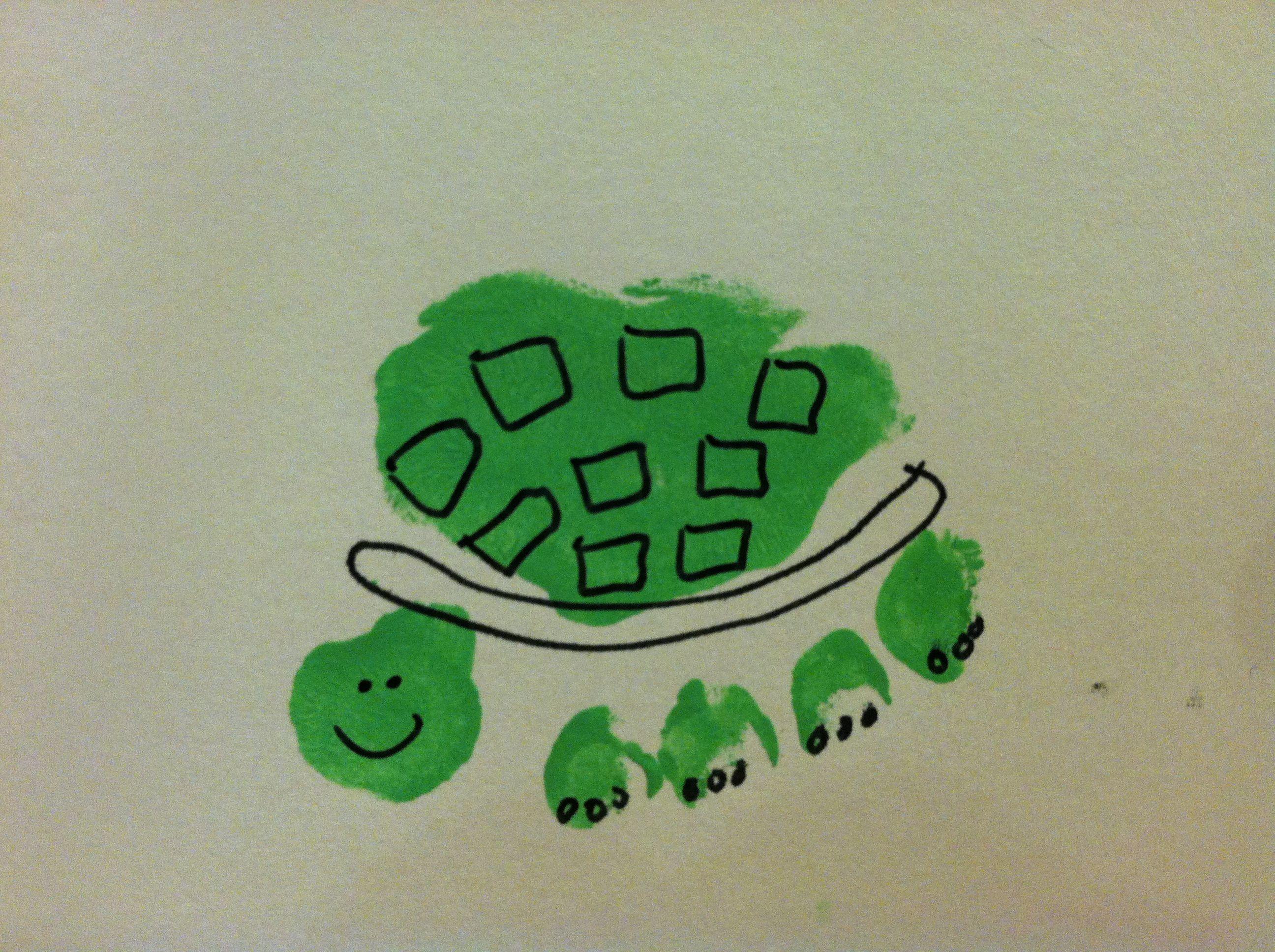 Footprint Turtle Footprint Art Preschool Craft Activities