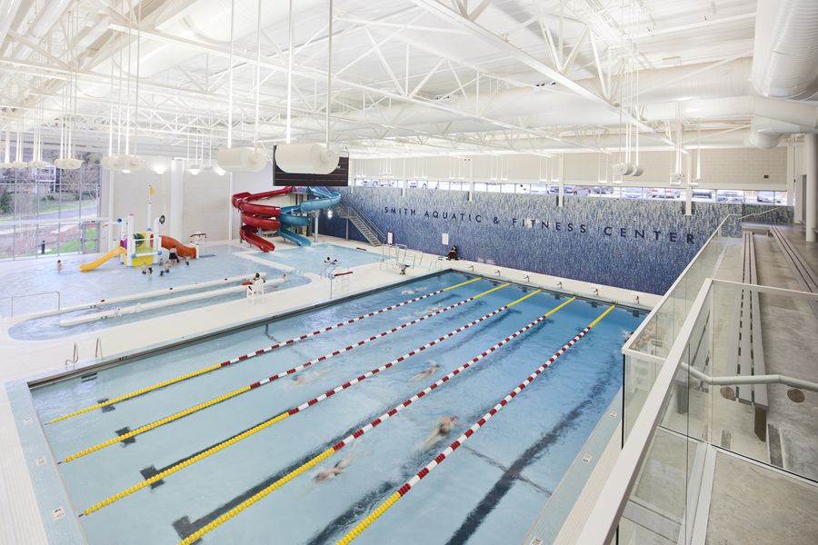 The smith aquatic fitness center features a six lane for Pool design center