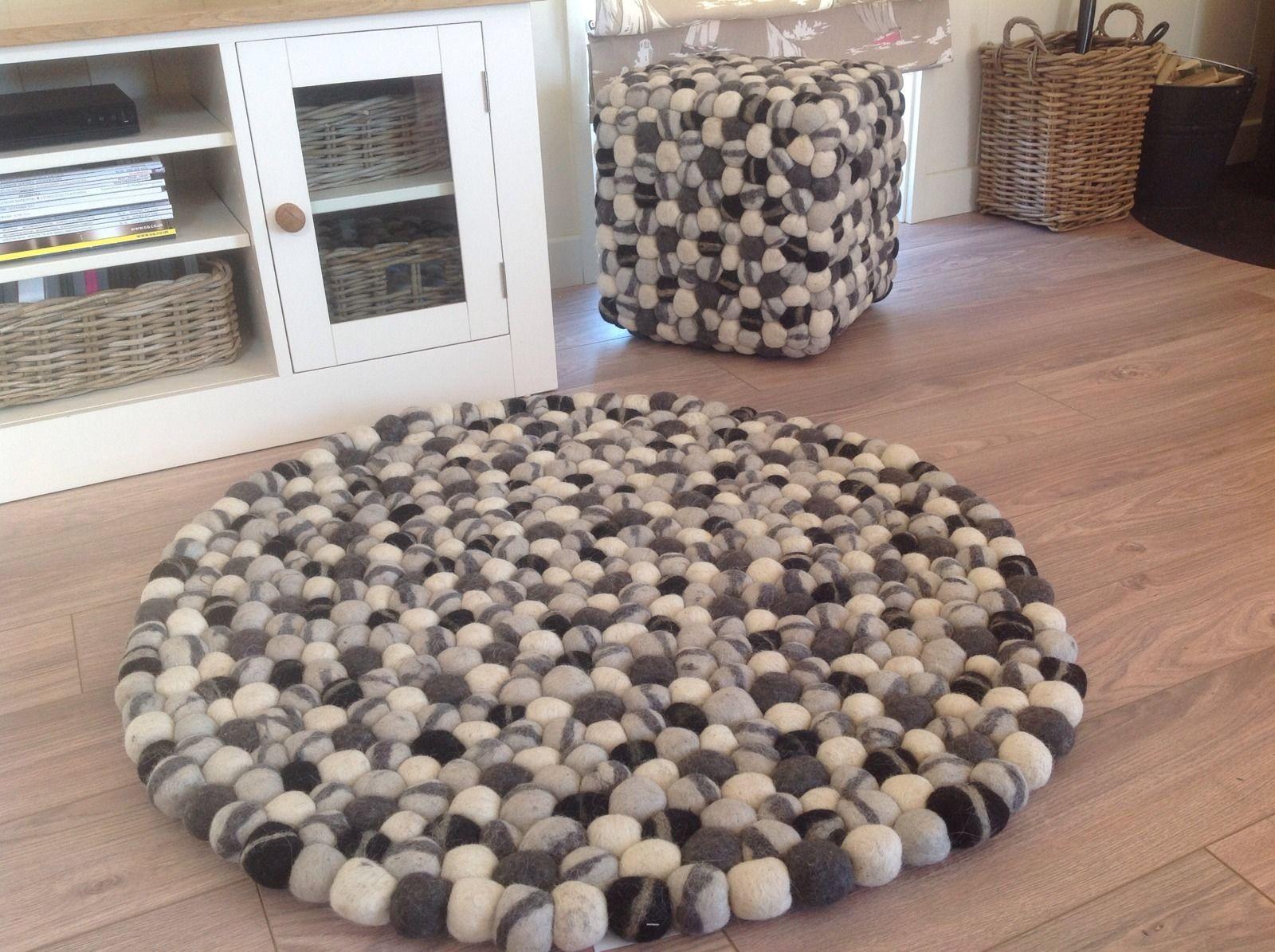Gorgeous Thick Round Black Grey Cream Wool Felt Rug 90cm