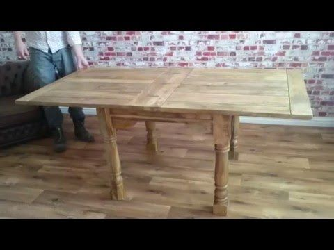 This Beautiful Rustic Table Extends From A Small Square Table To Double The Size When Required Usin Rustic Dining Table Dining Room Small Small Kitchen Tables