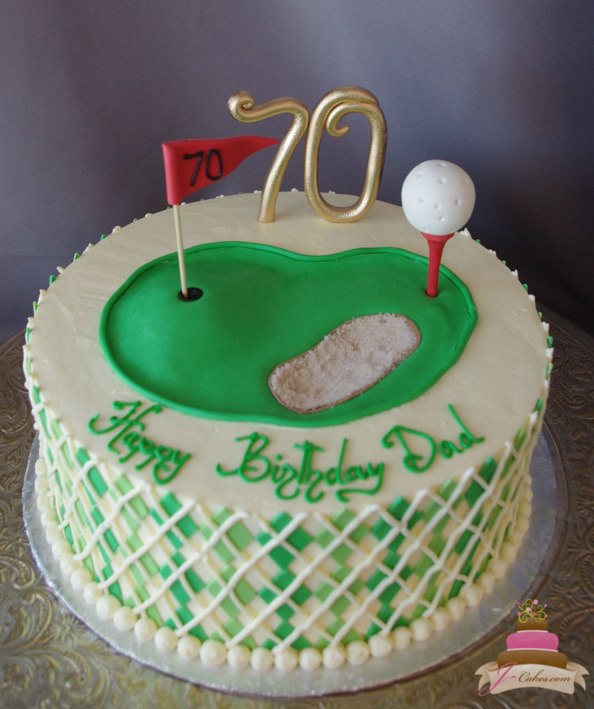 169 Golf Theme Birthday Cake 70th Adult Cakes Dad