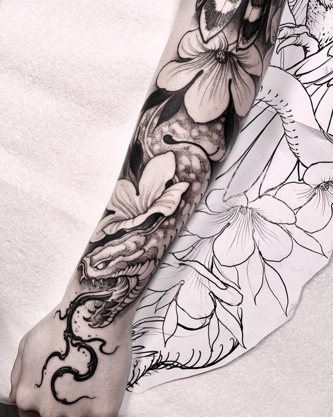 Sleeve Tattoo Generator: Snake And Flowers Tattoo Sleeve By @brunosantostattoo