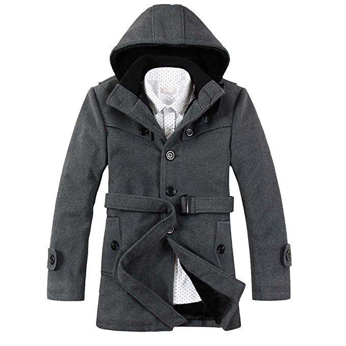 Jaycargogo Mens Winter Jackets Hooed Fleece Hoodies Sweatshirt Wool Warm Thick Coats Light Grey XL