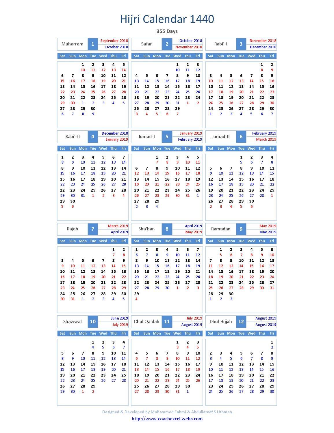 Islamic Calendar 2019 Calendar Printables Islamic Calendar