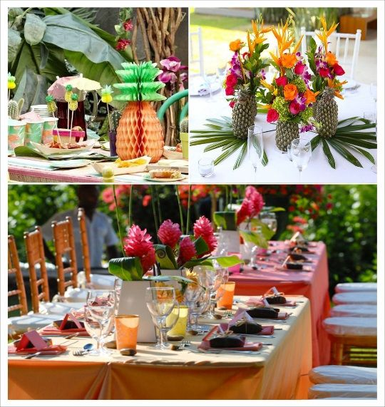 decoration mariage tropical decoration table ananas fleurs exotiques deco tropical pinterest. Black Bedroom Furniture Sets. Home Design Ideas