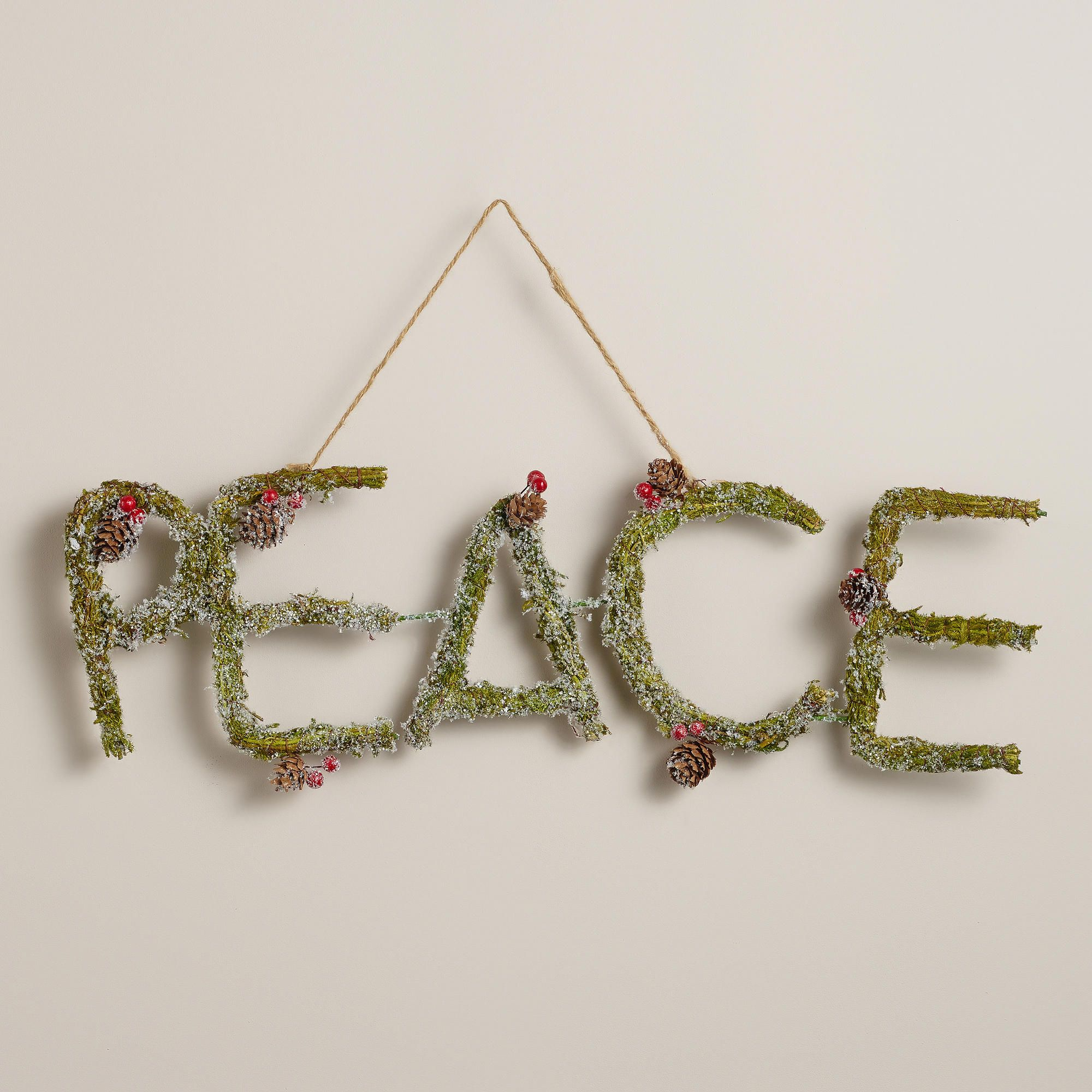 Mossy Pinecone Peace Wall Decor | Pinecone and Christmas decor