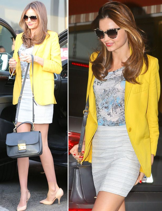 Yellow blazer (Stella McCartney)+ flower top (Erdem) + Pumps (Celine) + grey bag (Miu miu)