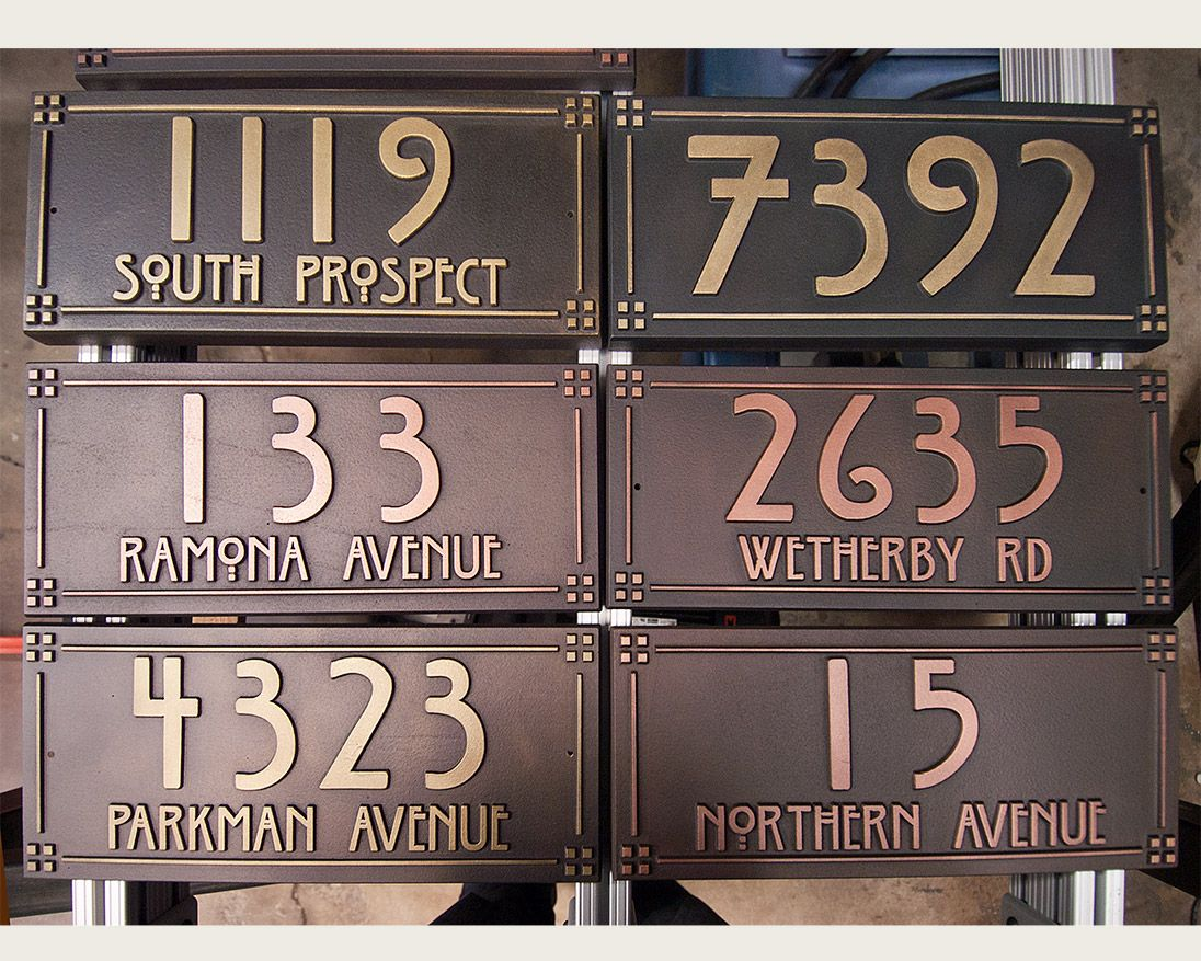 Pacific Craftsman Style Copper And Brass Address Plaques In Progress Address Plaque Craftsman Craftsman Style Homes