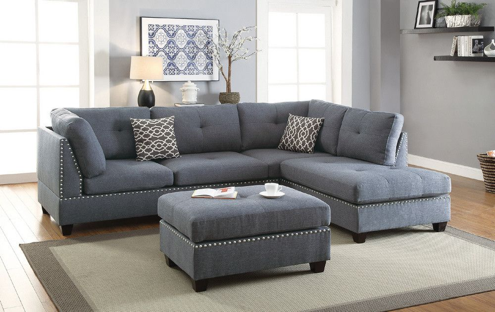 Best Blue Grey Polyfiber Reversible Sectional Sofa With Ottoman 400 x 300