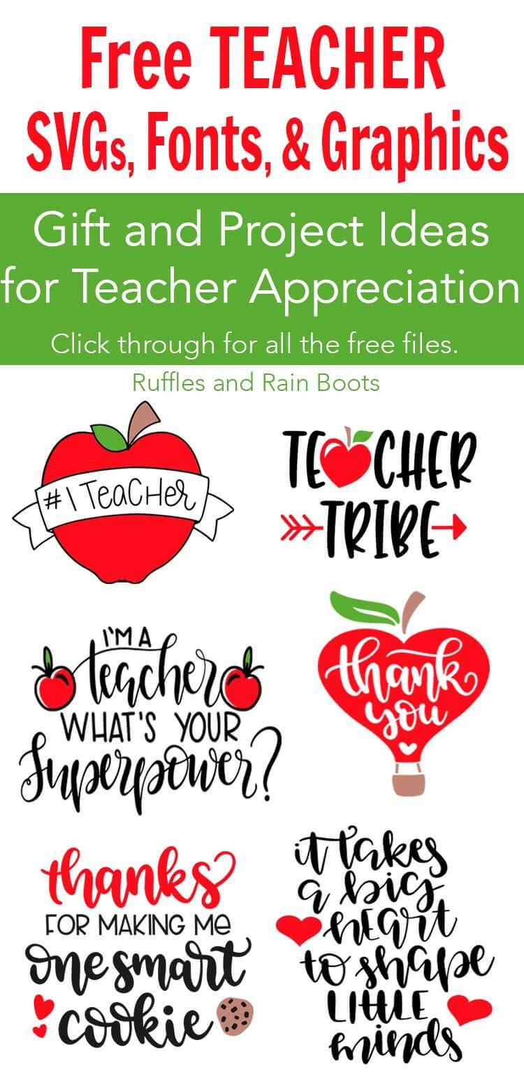 Free Teacher Svg Files Appreciation Week Back To School Teachers Day Gifts Teacher Appreciation School Teacher Gifts