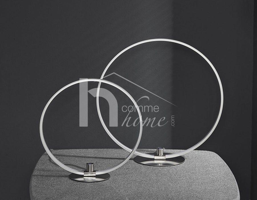 Lampe poser led circulaire en nickel mat wheel luminaires design pinterest - Lampe cercle led ...