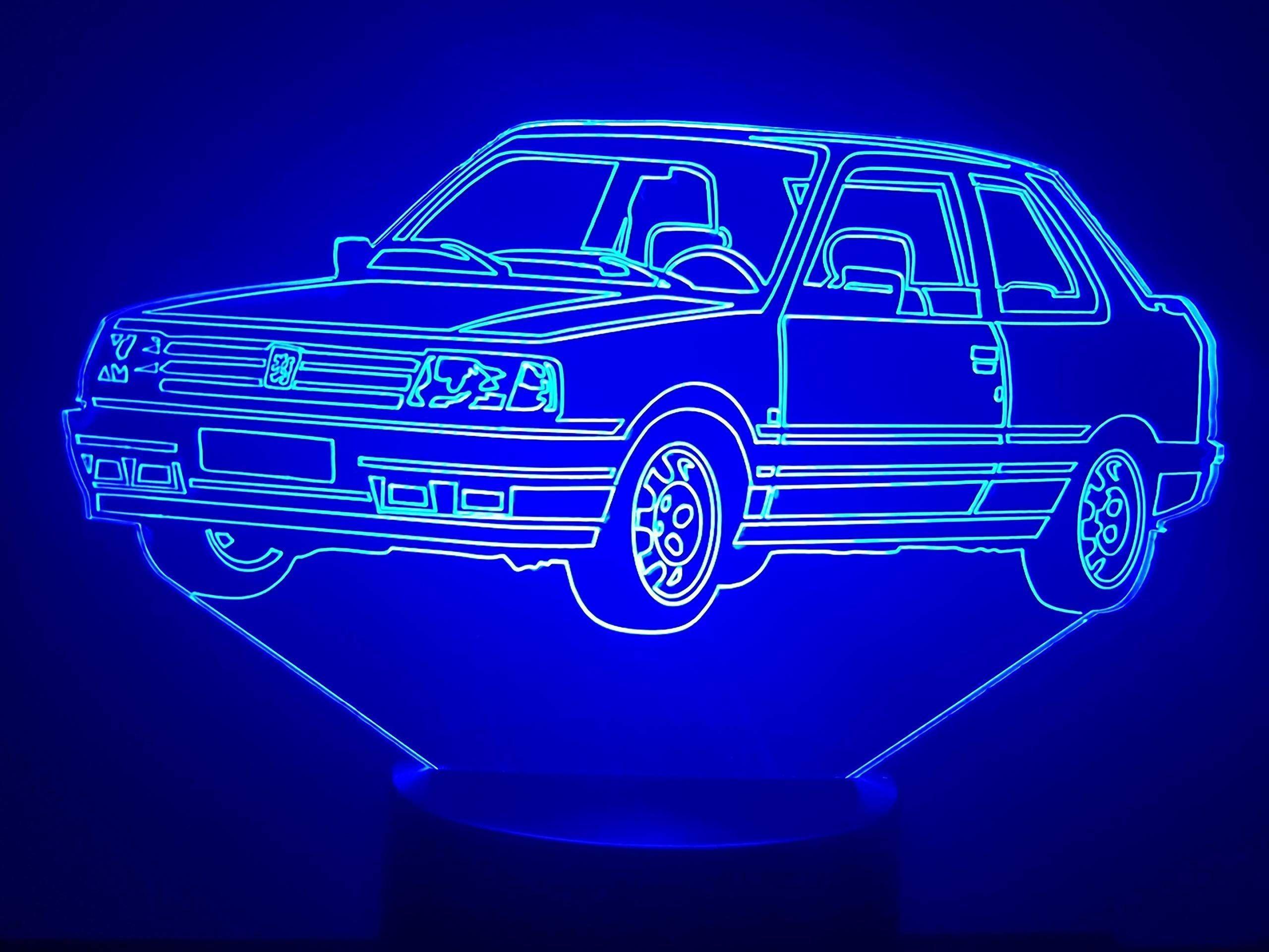 Peugeot 309 Gti 3d Lampe Led Peugeot Gti Led Lampe Typografie