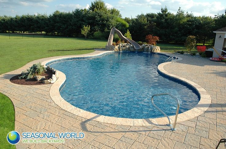 Cement Pool With Slide Cement Pools Pool Houses Pool
