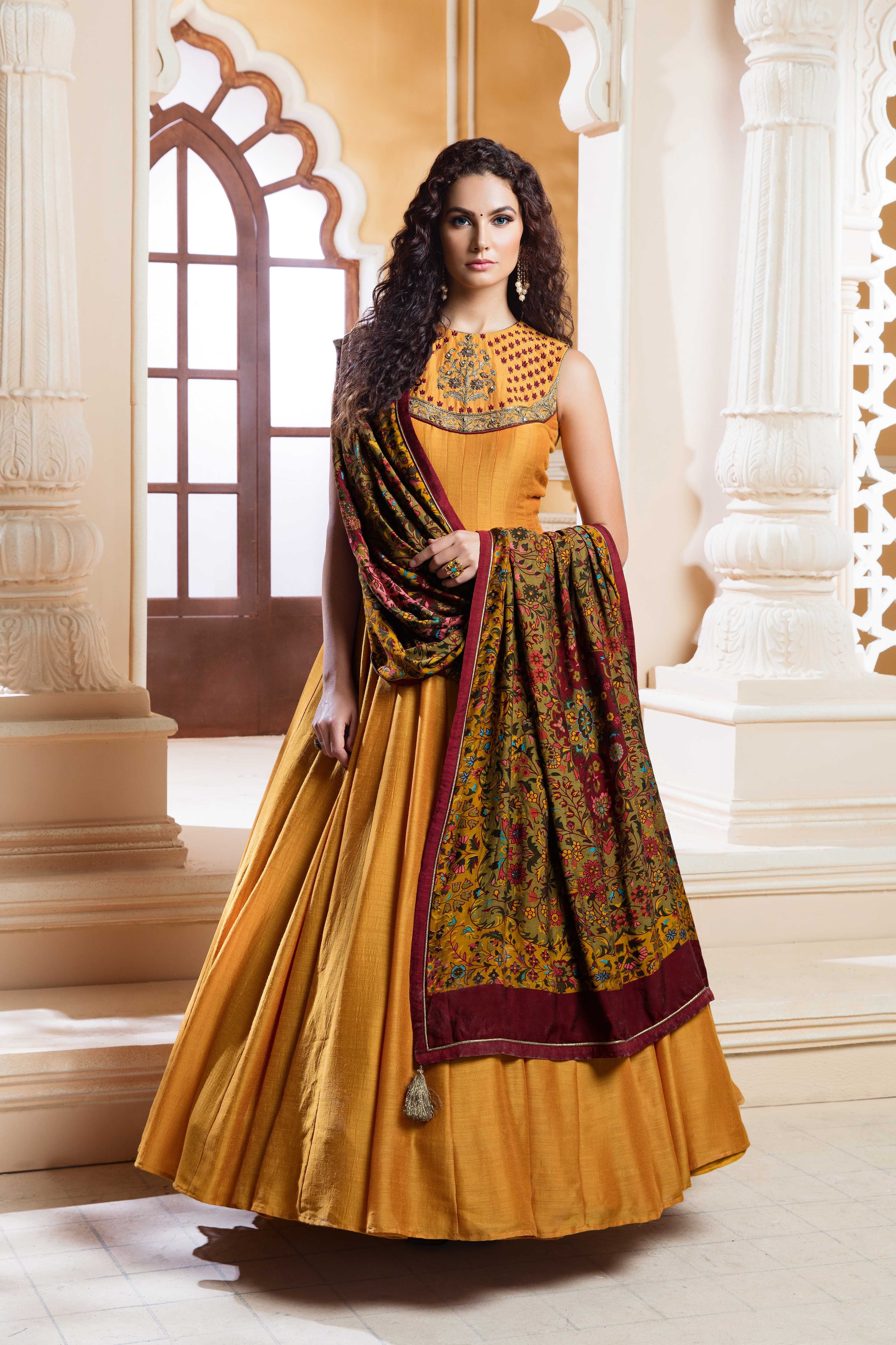 67f8e308bd1 Designer Mustard Pure Silk Outfit with Gorgeous Dupatta in 2019 ...