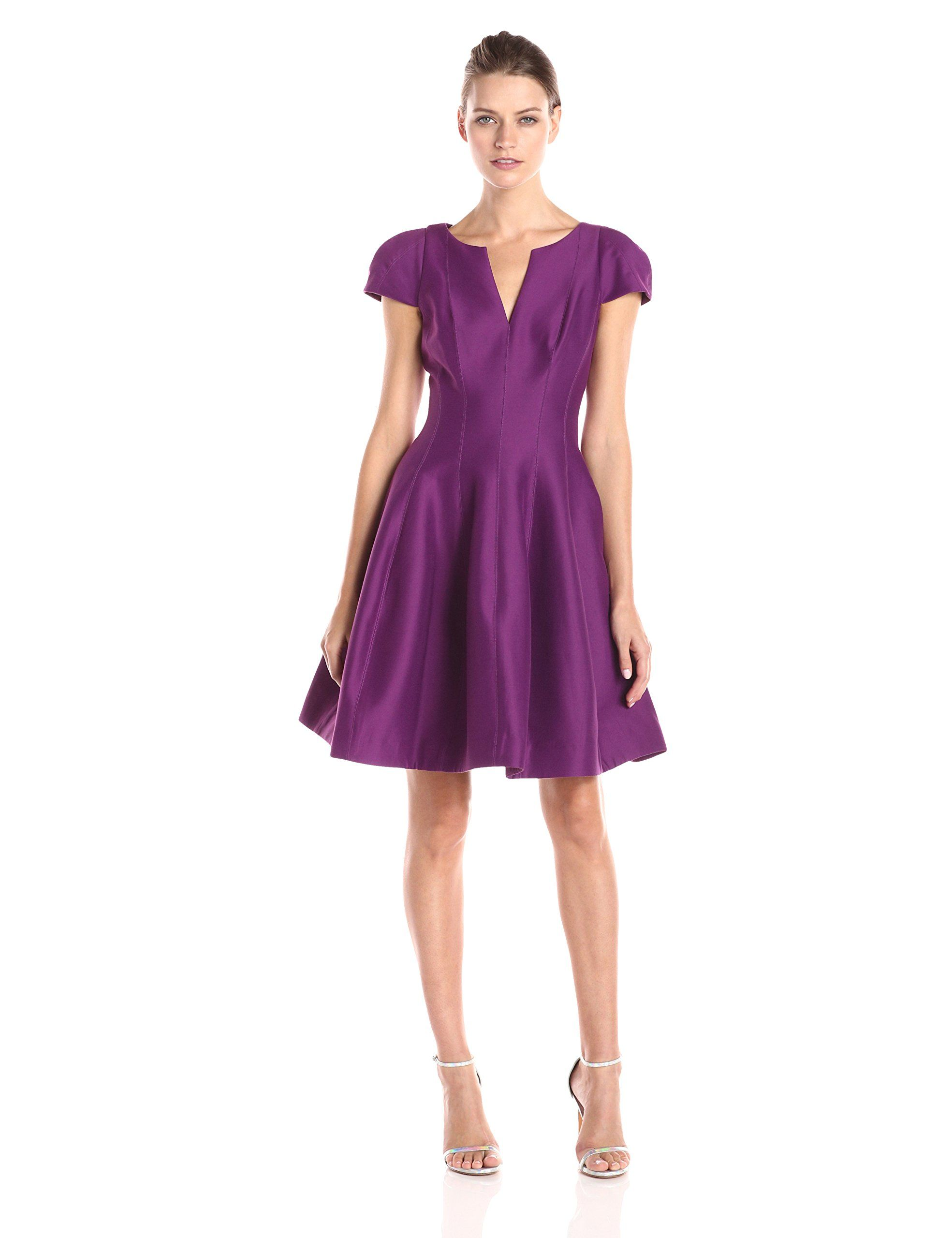 HALSTON HERITAGE Women's Cap Sleeve Cocktail Dress, Magenta, 4. Fit-and-flare dress featuring princess seaming, split V-neckline, and structured cap sleeves. Concealed center back zipper.