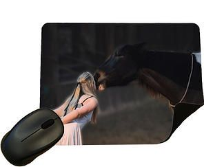 Girl Kissing Horse - £5.99 This Mouse Mat has a Polyester top with a black rubber non-slip underside  Measurements are 22cm x 18cm and Approx 3-4mm thick - Available from www.eclipsegiftideas.co.uk - Great gift for equestrian fans, lovers of horses and ponies