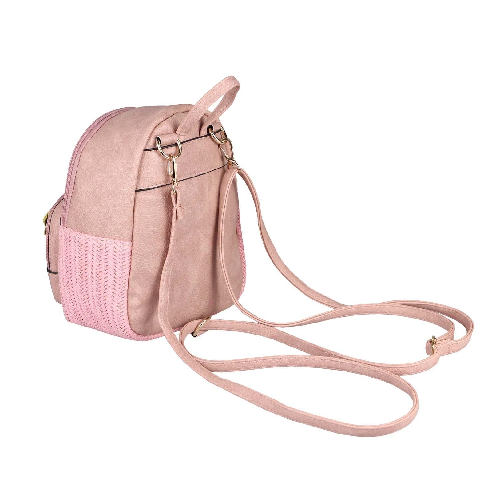 5f6f034c3e00e ital-design DAMEN BLUMEN MINI-RUCKSACK Backpack Tasche Daypack Cityrucksack  Leder Optik Schultertasche Flechtoptik