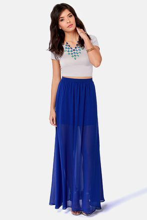 Floor de Lis Royal Blue Maxi Skirt | Blue maxi and Royal blue