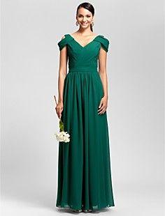 Sheath/Column V-neck Floor-length Chiffon Bridesmaid Dress – USD $ 129.99