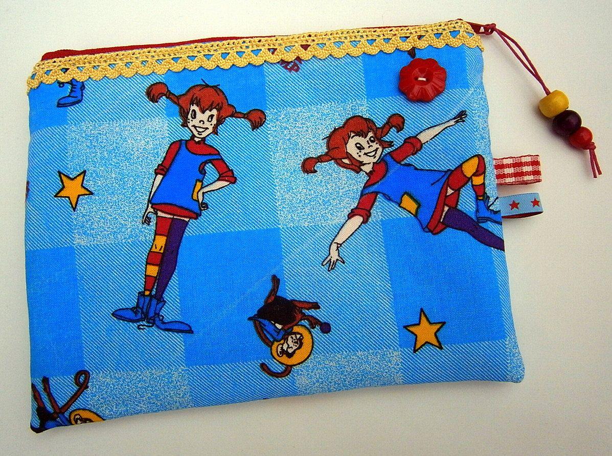 Pippi Langstrumpf Vintage Tasche, 70 Er Jahre Stoff, Schweden,blau, Rot,