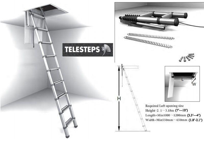 Telestep 1000l 10 Ft Aluminum Telescoping Attic Ladder Small Opening Attic Ladder Attic Ladder Ladder Residential Architecture