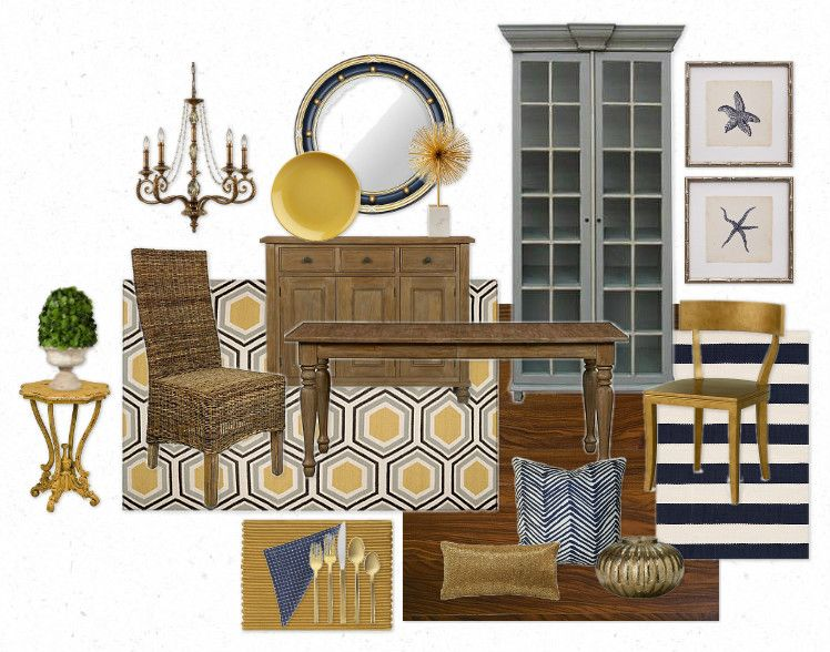 yellow & navy nautical dining room | for the home | pinterest