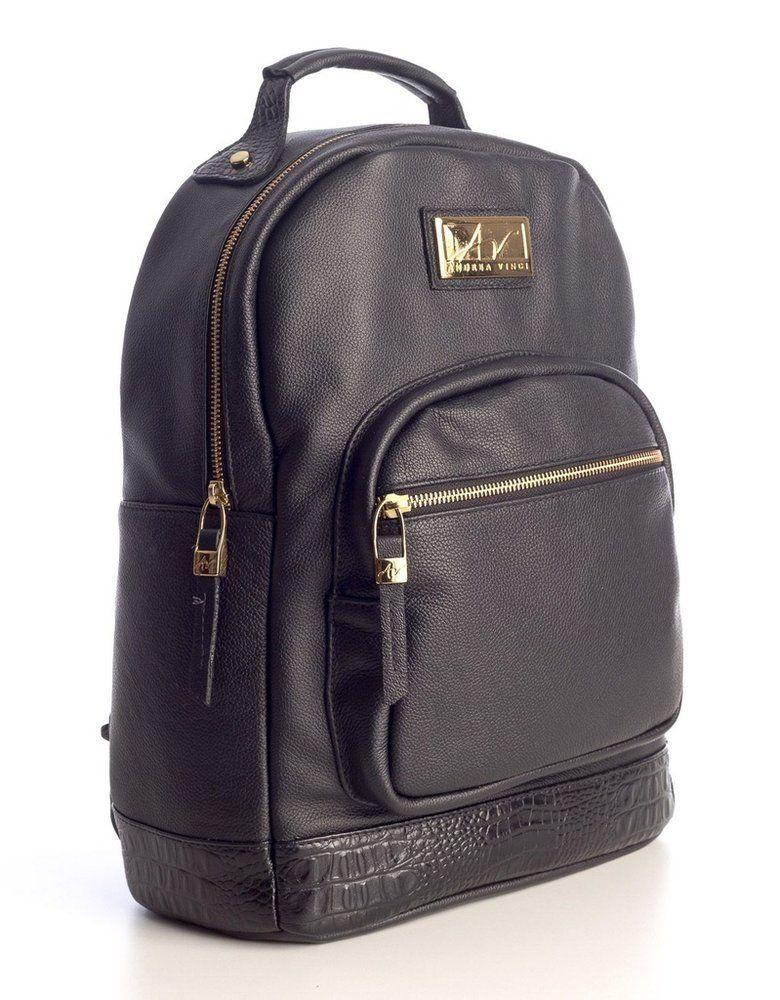 09f1c085c Mochila feminina de couro legítimo Andrea Vinci preta - Enluaze - Bolsas,  mochilas, roupas e acessórios
