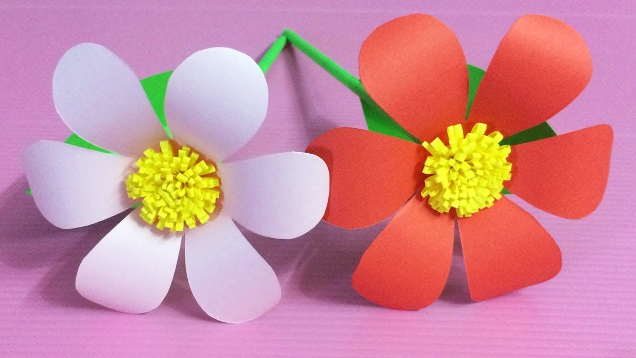 How To Make Beautiful Flower With Paper Making Paper Flowers Step By S Paper Flowers Diy Construction Paper Flowers Paper Flowers