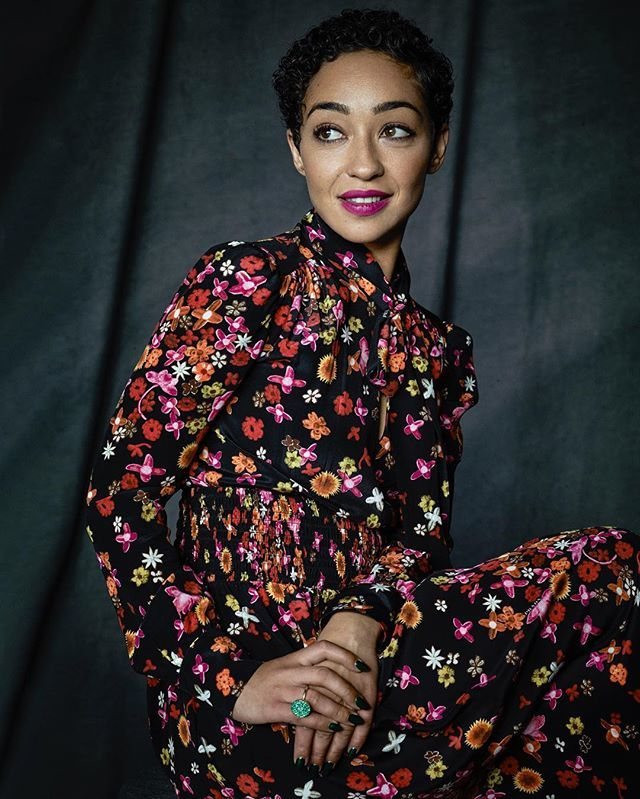"Florals are never a bad idea. ""Prada, Prada, Prada, Prada! I love them because everything just fits. We never have to do any alterations,"" Loving star Ruth Negga says of her dress and shoes. : @matthewbrookesphoto #TIFF16"