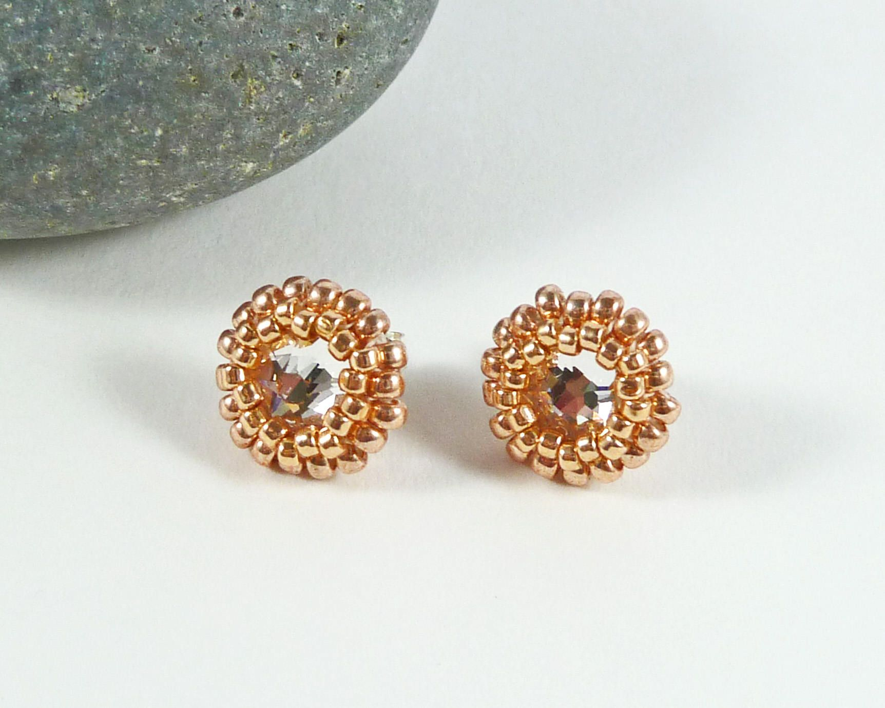c0516c190 Crystal Stud Earrings, Rose Gold, Sterling Silver, Prom Jewelry, Wedding,  Bridal, Swarovski Crystal, Bridesmaid Gift, Sparkly, Bead Earrings by ...