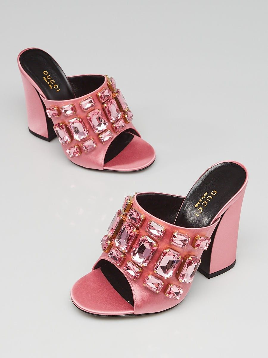 553bfb7ba5d Gucci Carmine Rose Satin Bejeweled Open Toe Mule Sandals Size 5 35.5 - Yoogi s  Closet