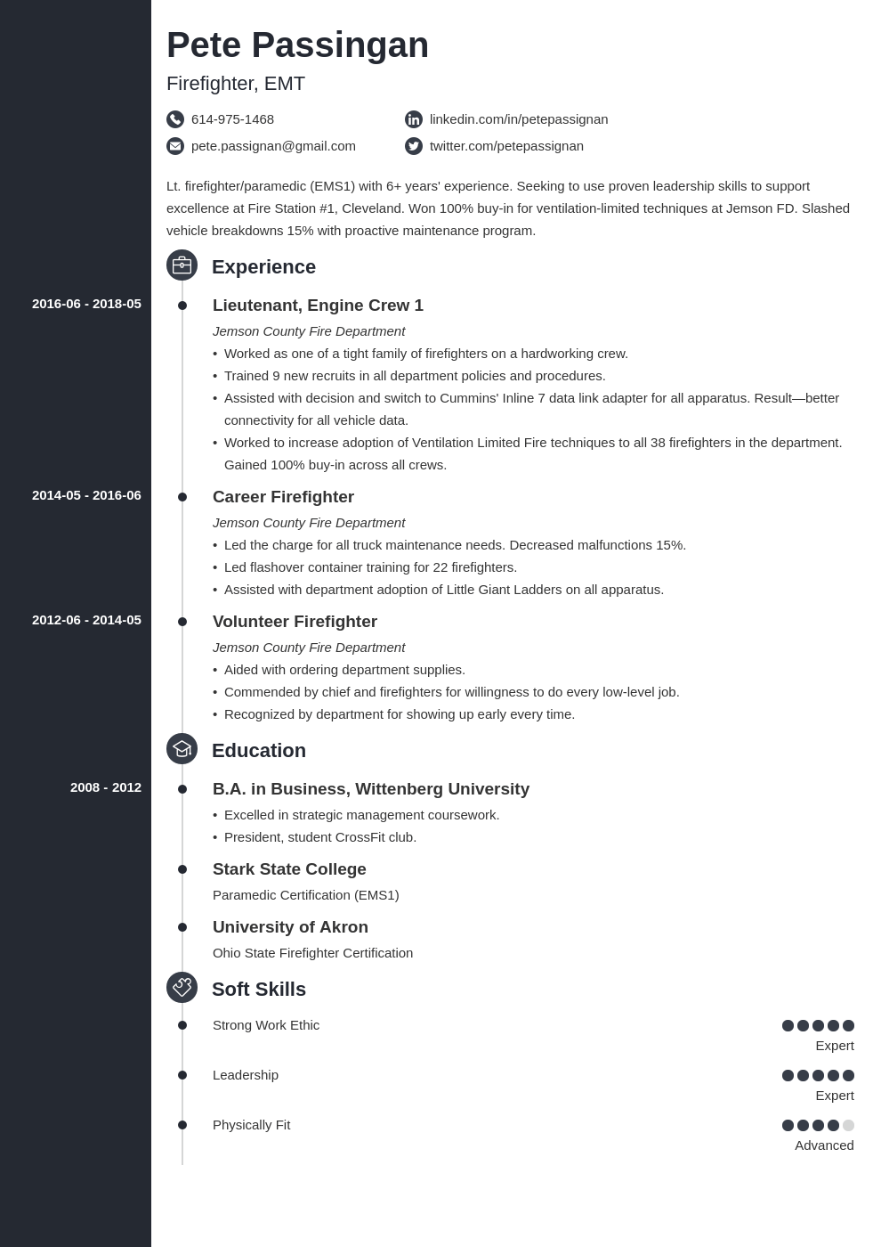 firefighter resume example template concept in 2020